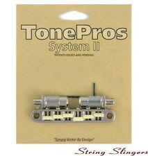 TonePros TPFPG-N Locking Metric Graphite Saddles Bridge, Large Posts, Nickel