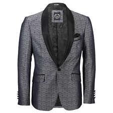Mens Vintage Floral Damask Tuxedo Suit Dinner Jacket Wedding Party Formal Blazer Chest UK 44 EU 54 Grey