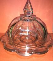Vintage Clear Glass Round Butter Dish Cheese Ball Plate Dome Lid Antique