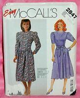 Uncut McCalls Misses Sz 8-12 Easy Dropped Waist Dress & Tie Belt Pattern 2847