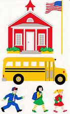 Mrs. Grossman's Giant Stickers - School House - Bus, Flag, Children - 2 Strips
