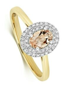 Morganite and Diamond Ring Oval Engagement Yellow Gold Certificate Appraisal