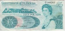 St. Helena banknote P7b 5 Pounds sig Angliae, QE II, F/VF  We Combine