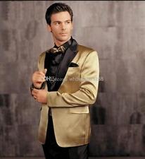 Gold Jacket Black Pants Mens Wedding Suits Groom Tuxedo Best Men Party 2 PC Suit