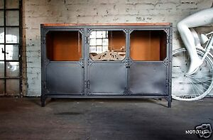 Kommode Büffet BROOKLYN Industrial Design Metall Holz Sideboard :2- oder 3-türig