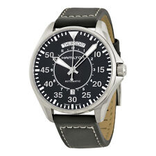 Hamilton Khaki Pilot Automatic Black Dial Black Leather Mens Watch H64615735