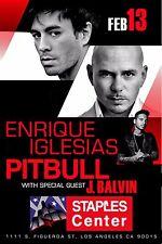 ENRIQUE IGLESIAS / PITBULL 2015 LOS ANGELES CONCERT TOUR POSTER - Reggaeton, Pop