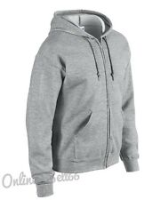 Gildan Zipped Plain Hoodie Full Zip Hoody Men Womens Sweatshirt Work Wear School