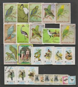 Ajman - Small Collection of 24 Bird stamps - Mint & Used