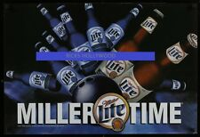 Original 2002 2 SIDED STYRENE MILLER LITE BEER Store Promo Poster BOWLING BALL