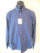 Van Heusen Cotton Blnd Black Iris Plaid Size M Long Slve Shirt SR$60 NEW