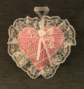Valentine Heart Hand Made Lavender Sachet Crafted w/Lace & Ribbon. Free Ship!