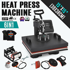 "6 in 1 Heat Press Machine For T-Shirts 15""x15"" Combo Kit Sublimation Swing away"