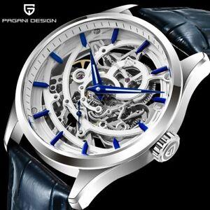 Luxury PAGANI DESIGN Tourbillon Watch Mens Automatic Wristwatch Leather Relogio