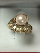 14k Pink Pearl And Baguette Diamonds Ring