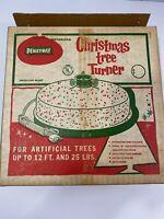 """Vintage Penetray Motorized Christmas Tree Turner 15""""TTP/15 White w/Glitter Works"""