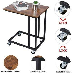 Portable Rolling Castor End table Industrial Sofa Side Table for Coffee & Laptop