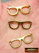 M00766-Gold MOREZMORE 3 Metal Eyeglasses Frames Doll Spectacles Glasses Prop