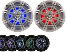 """2-Speakers Kicker 6.5"""" 195W Marine Audio Coaxial Color LED Lights Silver Grill"""