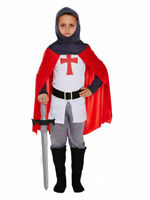 Boys Medieval Knight Costume Kids Childrens Fancy Dress St George Child Age 4-12