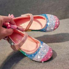 Kids Girls Princess Shoes Fancy Party Rainbow Sequins Flat Princess Autumn Shoes