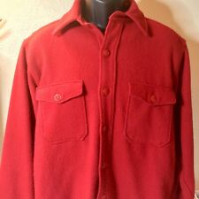Vintage Wards Western Field Red Wool Long Sleeve Button Up Shirt Size L