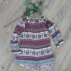 Mink Pink Womens Size XS Playsuit Romper Multi-Coloured Boho Flowing Patterned