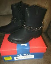 Jelly Beans Girls Size 11 Black Boots With Ankle Accent Western Style Boots