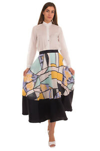 RRP €1425 ROKSANDA Flare Skirt Size XL Silk & Wool Blend Patterned Fully Lined