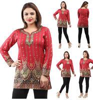 Red Floral Women Printed Indian Short Kurti Tunic Kurta Top Shirt Dress 28D
