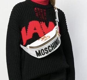 New $750 Moschino Teddy Bear Gladiator Leather Belt Bag Fanny Pack White