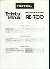 Rare Orig Factory Rotel Re-700 Stereo Equalizer Graphic Service Manual