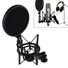Professional Microphone Shock Mount stand holder with Pop Shield Filter ScreenEK