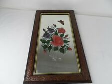Vintage Floral Etched Glass Hallway Mirror Butterfly Framed
