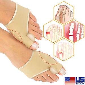 2X Bunion Corrector Protector Toe Separator Straightener Sleeves Kit W/  Gel Pad