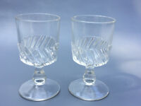 2 Antique clear pressed glass goblets, LEFT SWIRL 1880's