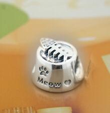 Authentic Pandora SILVER Charm Bead MEOW CAT BOWL 791716CZ NEW