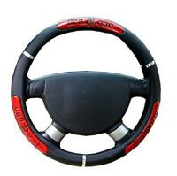 38cm PU Leather Car SUV Steering Wheel Cover Red & Black Universal