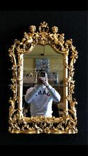 Specchiera intagliata foglia oro antica vetro molato barocco da parete S09