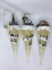 Vintage Thomas Kinkade Icicle Village Ornaments 3 Set