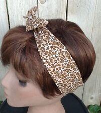 Wire Headband Dolly Bow Leopard Print Wired Rockabilly Scarf Bandana Bunny Ears