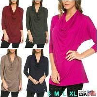 Women Cowl Neck Solid Tunic Top 3/4 Sleeve Front Drape Loose Knit USA S M L XL
