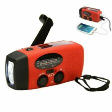 Hand Crank Dynamo Wind Up Solar Portable AM FM Radio USB Charger Light Torch New