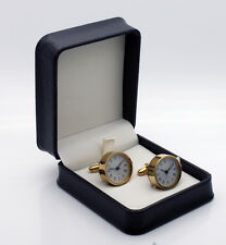 New Fully Working Clock Cufflinks in Surgical Stainless Steel. Gold Plated