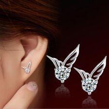 18K White Gold GP Austria Crystal butterfly wing diamond Earrings Studs
