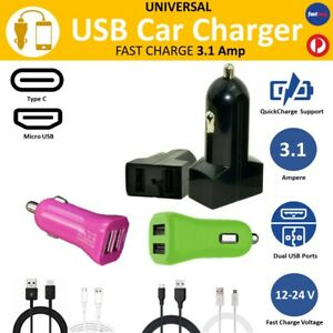 Genuine Samsung Dual USB Car Charger Type C 3.1 Fast Cable S8 S9 Note 8 9 S7 S10
