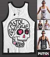 Pistol Boutique Men's White LOGO DOODLE SKULL LIFE & DEATH Vest Singlet Tank
