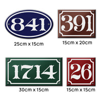 Personalised French Enamel Vintage Themed Acrylic House Door Number Sign Plague
