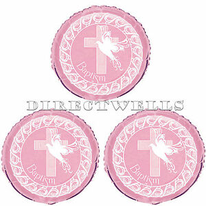 Baptism Pink Cross Dove Mylar or Foil Balloons 18 Inch (3 Balloons)
