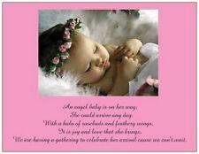 20 Baby GIRL Shower INVITATIONS Halo Rosebuds Pink FLAT CARDS & ENVELOPES